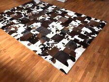 Patchwork Teppich aus braunem & weißem Kuhfell! 300cm x 200cm, RUG, NEU