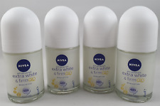 4 x nivea extra white & firm 48h q10 anti-perspirant 25ml roll-on travel size