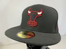NBA Chicago Bulls New Era 59Fifty Black Fitted Cap Hat 7 1/8 56.8cm NEW