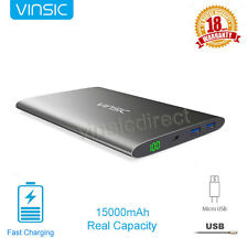 Vinsic UltraSlim Power Bank 15000mAh USB Portable Battery Charger for Cell Phone