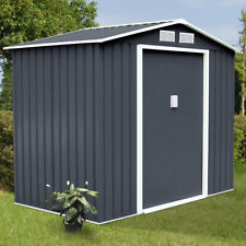 9' X 6' Outdoor Garden Storage Shed Tool House Sliding Door Steel Dark Gray New