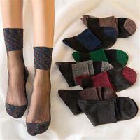 Women Ladies Sheer Silky Glitter Transparent Short Stockings Ankle Summer Socks
