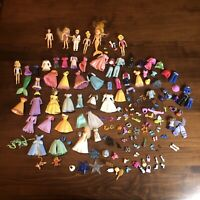 Disney Princess Mini Figure Polly Pocket Doll Rubber Toy Lot Clothes +Extras B6