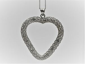 BJC 9ct White Gold Cubic Zirconia Filled Large Heart Pendant & Necklace P45