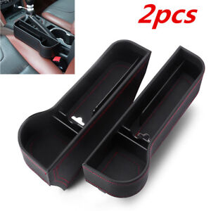 2x Leather Catch Catcher Box Caddy Car Seat Gap Slit Pocket Cup Holder Organizer