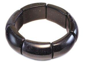 Goldstone Bracelet Blue Large Chunky Bangle Style 6 7 Inch Adjustable Stretchy