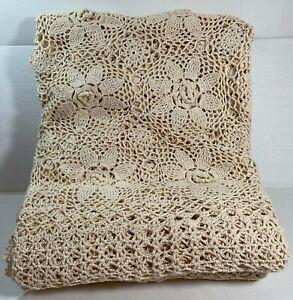 "New Handmade Crochet Lace Tablecloth, rectangular 72"" x 108"" 100% Cotton, Beige"
