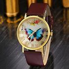 Fashion Women Ladies Butterfly Watches Leather Strap Analog Quartz Wrist Watch