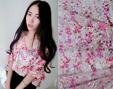 BURN-OUT SILK(75%) CHIFFON WITH PINK YELLOW PETALS BY THE METER S124