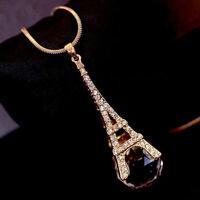 Damen Paris Eiffelturm Kristallkugel Anhänger Long Halskette Einzigartig