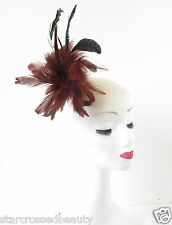 Red Brown Black Feather Fascinator Hair Clip Brooch Burgundy Native American Q09