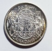 1943 Canada 50 Cents Narrow Date Near 3 Scratched AU Shipped FREE C48