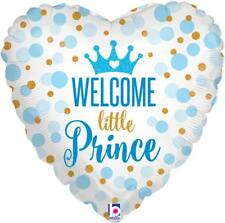 """18"""" WELCOME BABY SHOWER LITTLE PRINCE BLUE BOY BORN HELIUM FOIL BALLOON 36712"""