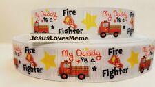 Grosgrain Ribbon My Daddy Is A Fire Fighter Fireman Fire Truck Hat Stars 7/8
