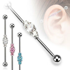 Surgical Steel Industrial Barbell with Three Linked CZ Gems 14G Ear Piercing