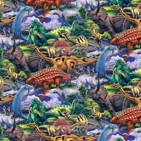 Age of the Dinosaurs Packed Multi David Textile 100% Cotton Fabric by the Yard