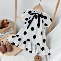 Toddler Baby Kids Girls Cute Bow Dot Print Ruched Princess Dresses Clothes