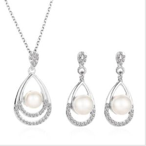 Pearl Crystal Prom Wedding Party Diamante Bridal Jewellery Earrings Necklace Set