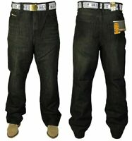 New KAM Mens Big Size Jeans Straight Leg Denim Trousers Free Belt Included