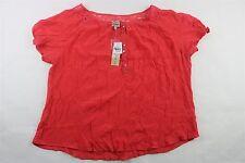 COMO VINTAGE - Women's Short Sleeve Peasant Blouse Top Shirt CORAL Plus 2X