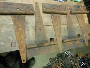 "vintage heavy duty T strap steel hinges 14 1/2"" old barn door hardware"