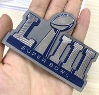 Super Bowl LIII 53 Flex Chrome Iron On Sewn On Plastic Patch Patriots vs Rams