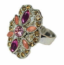 ENCHANTING CHUNKY FLORAL INSPIRED RING WITH PINK /PEACH/ YELLOW STONES(ZX9)