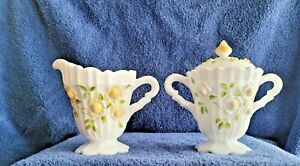 Vintage Glass Sugar Bowl And Creamer With Floral Designs – Fenton