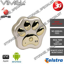 GPS Tracker 3G Telstra Gold Pet Kids Anti Lost Theft Cat Dog Real Live Time