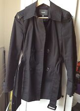 Black trench coat mac size UK 8 marmorized buttons