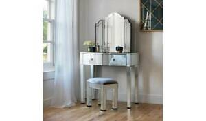 Home Canzano Mirrored 2 Drawer Dressing Table Set