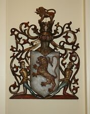MAGNIFICENT 18C ENGLISH GUILT & PAINT DECORATED WOODEN ARMORIAL HANGING PANEL