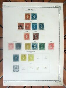 Collection of Old Stamps from Chile. . .1853-1867