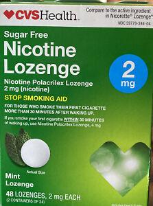 CVS Sugar Free Nicotine Mint Lozenges 2mg. 48 Mint Pieces Exp 4/2021. New