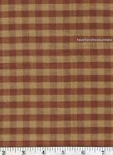 Dunroven House H-92  Homespun Brown Checked Fabric 1/2 Yd Cut Off The Bolt