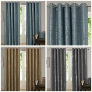 """Rapport Luxury Fully Lined """"Tuscany"""" Eyelet Curtains Duck Egg, Ochre Or Silver"""