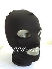Halloween Lycra spandex zentai wrestling Costumes black full hood/mask  S--XXL