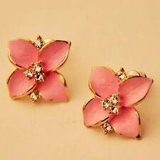 #1058 New elegant noble pink flower gold plated rhinestone earrings