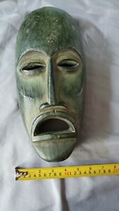 Vintage Carved Wooden Mask Dark Green solid wood hand made African? Info welcome