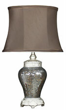 Bronze antique mosaic sparkle table lamp with oval trimmed chocolate shade
