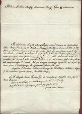 Supplica con Autografo Vescovo Brunone Fazzi San Miniato Pescia Pisa 1803 Rarità