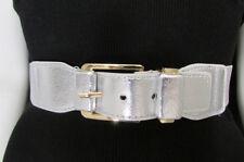 "New Women Belt Fashion Elastic Waist Hip XS S M 25""-35"" Black Brown Gold Silver"