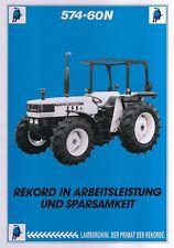 LAMBORGHINI TRAKTOR 574 60N Tractor Brochure Prospekt Sheet Deutschland 1988