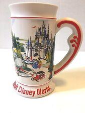 "Walt Disney World Stein Mug Castle Donald Mickey Cinderella Red Cream 6.5"" Vtg"