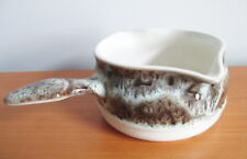 Beauce Pottery Avalanche Handled Gravy Sauce Boat Brown Blue Beauceware Quebec
