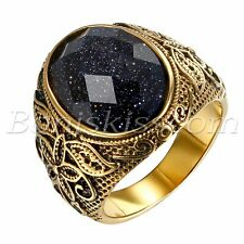 Men's Vintage Gold Stainless Steel Patterned Purple Sand Stone Band Ring #7- #12
