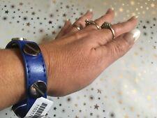Real De Cuero Azul Brazalete Pulsera de Plata de Acero Inoxidable Pernos de estilo celebridad nuevo