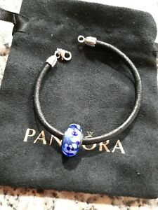PANDORA Sterling Silver Leather Bangle with Blue Murano glass charm