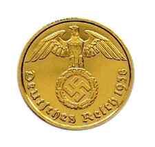 -- 2 Reichspfennig 1938 mit HK - 24 Karat vergoldet -
