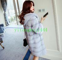 Winter Damen Lang pelzmantel Coat Fox Mink Kapuze Parka Slim fit Overcoat New